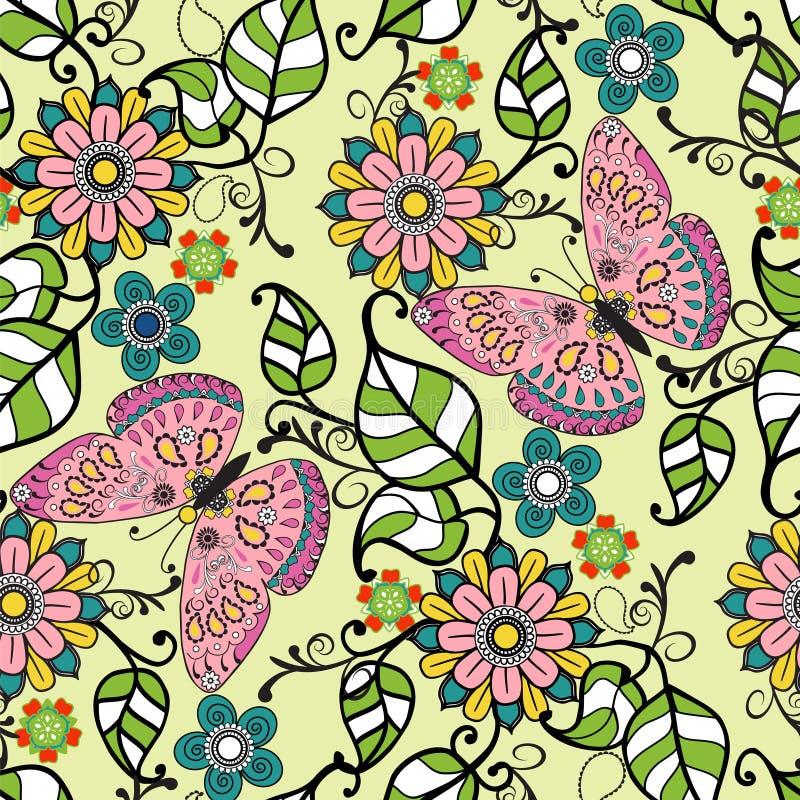 Vectorhand getrokken Decoratief patroon met bloemenornament flowe vector illustratie