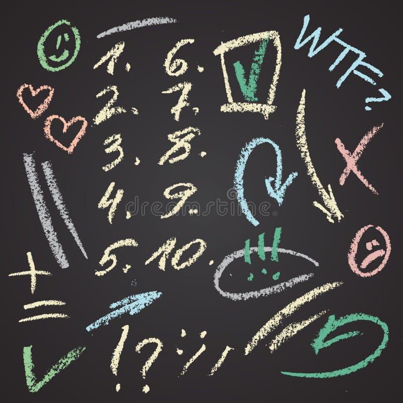 Vectorhand getrokken die cijfers en notaelementen op bord worden geplaatst Abstracte vectorkrijtillustratie Pijlen, tikken, gliml royalty-vrije illustratie