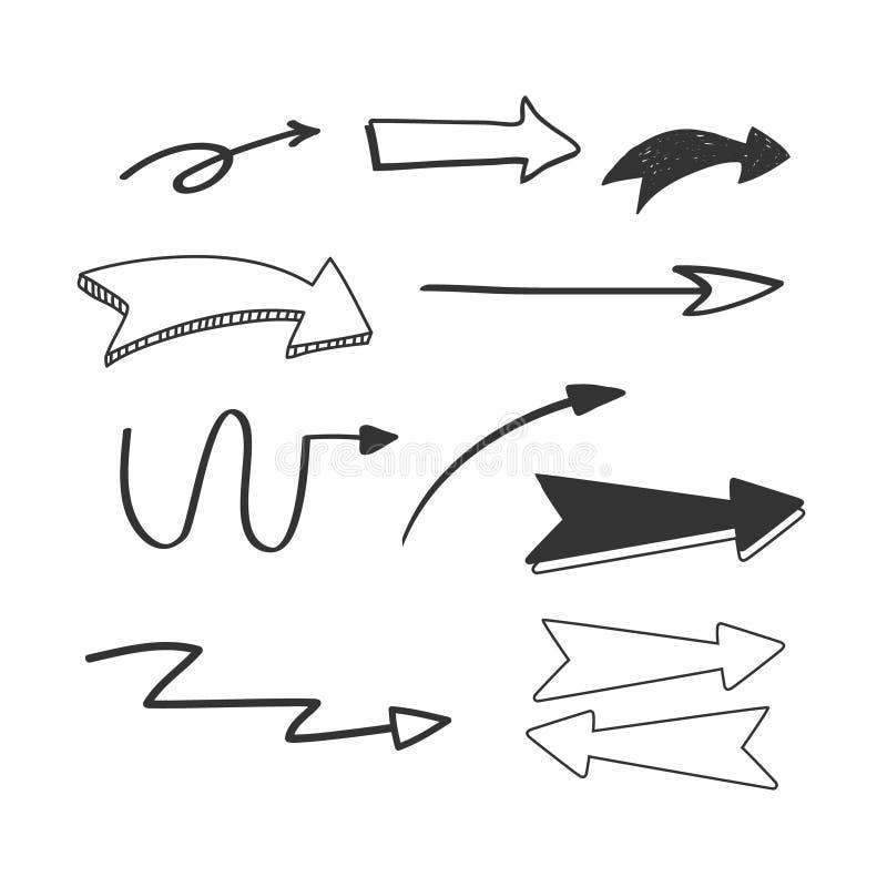 Vectorhand getrokken die pijlenpictogrammen op wit worden geplaatst De illustratie van de krabbelstijl stock illustratie