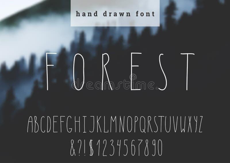 Vectorhand getrokken doopvont Moderne smalle brieven Hand getrokken typografie op vage achtergrond vector illustratie
