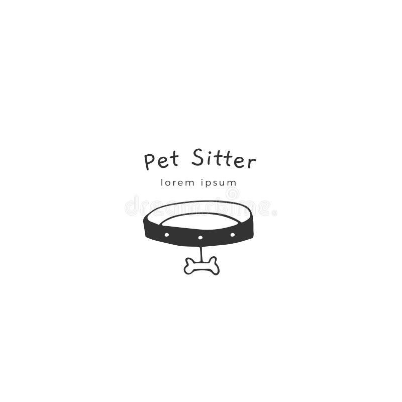Vectorhand getrokken embleemmalplaatje voor huisdieren verwante zaken stock illustratie