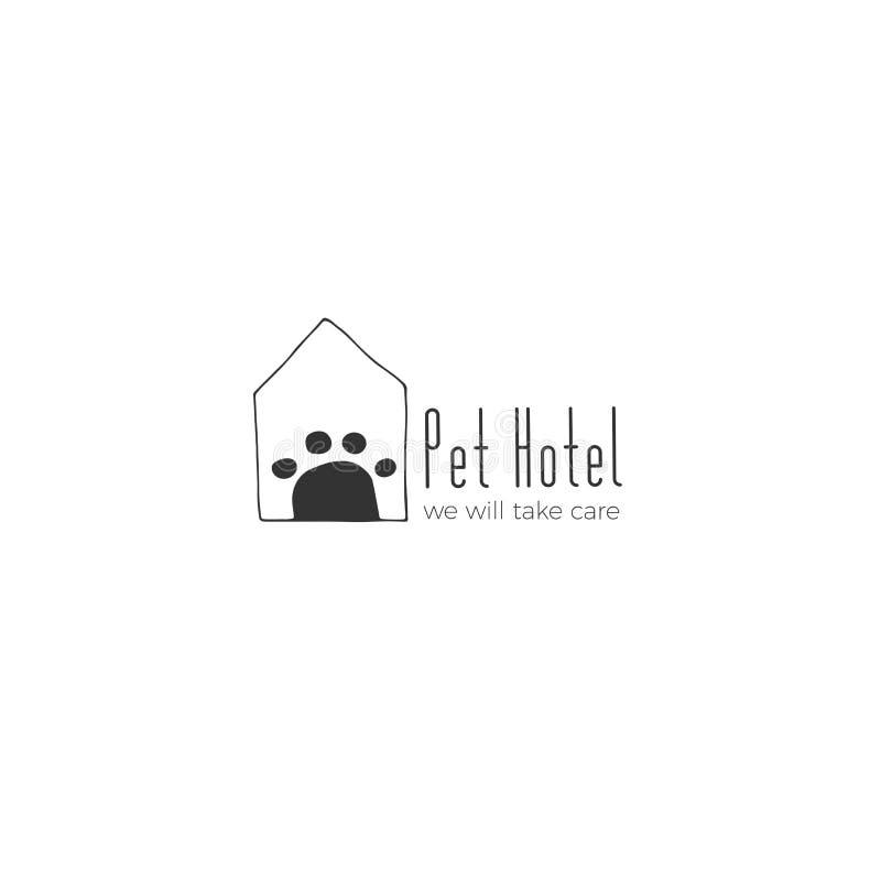 Vectorhand getrokken embleemmalplaatje voor huisdieren verwante zaken vector illustratie