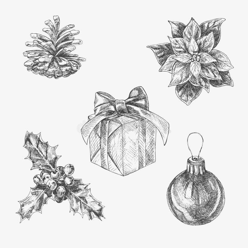 Vectorhand getrokken geplaatste Kerstmisillustraties Inzameling van Nieuwjaarbeelden vector illustratie