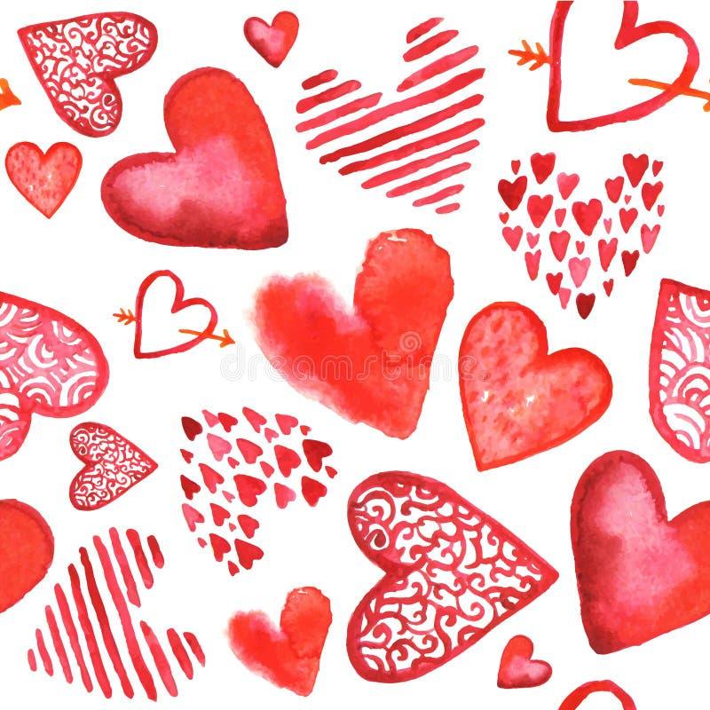 Vectorhand getrokken geschilderde waterverf rode harten royalty-vrije illustratie