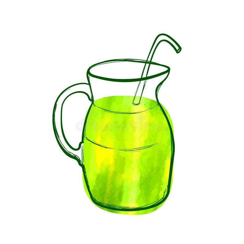 Vectorhand Getrokken Groen Cocktailpictogram, Waterverf het Schilderen, Groene Heldere Kleur, Geïsoleerd Voorwerp, Gezond Voedsel stock illustratie