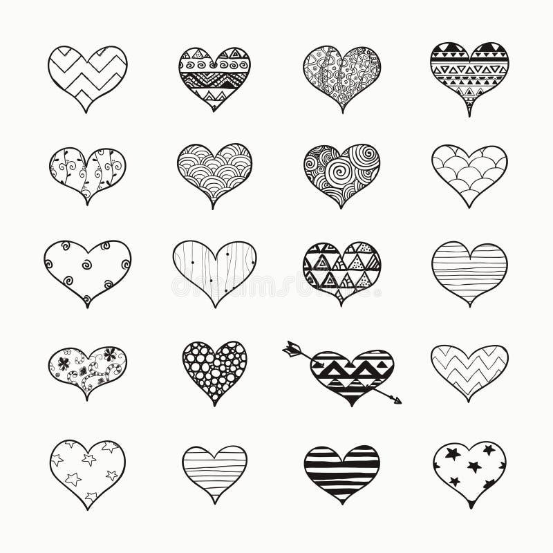 Vectorhand Getrokken Hartvormen met Krabbelpatronen stock illustratie