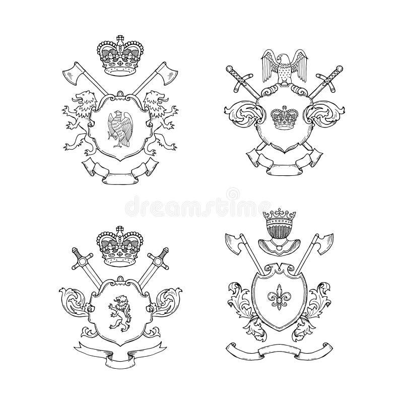 Vectorhand getrokken heraldicsillustratie stock illustratie