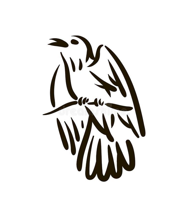 Vectorhand getrokken het silhouethand getrokken illustratie van de Vogellijn op witte achtergrond stock illustratie