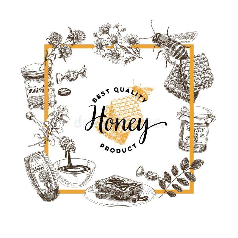 Vectorhand getrokken honingsillustratie vector illustratie