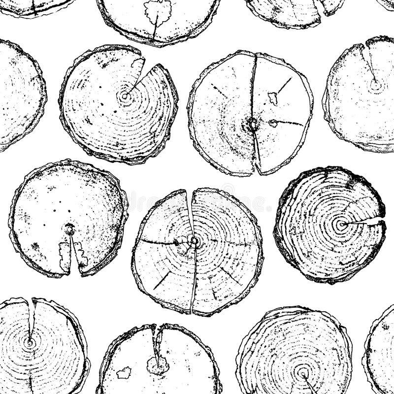 Vectorhand getrokken houten naadloos die patroon op witte backdr wordt geïsoleerd stock illustratie
