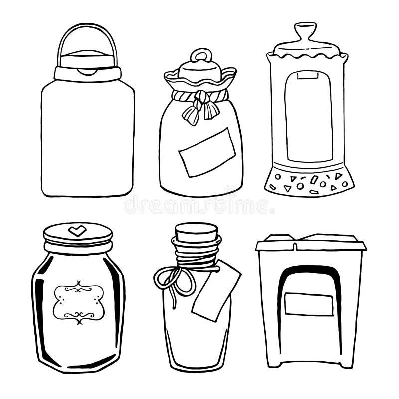Vectorhand getrokken illustratie met uitstekende verschillende kruiken voor geplaatste gruttenproducten: suiker, zout, koffie, bo royalty-vrije illustratie