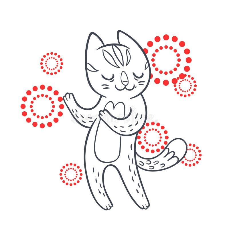 Vectorhand getrokken illustratie van grappige het dansen kat op discopari royalty-vrije illustratie