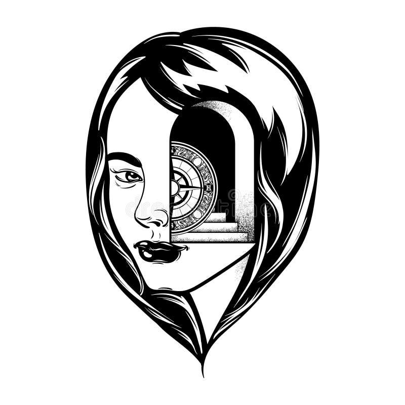 Vectorhand getrokken illustratie van jong meisje vector illustratie