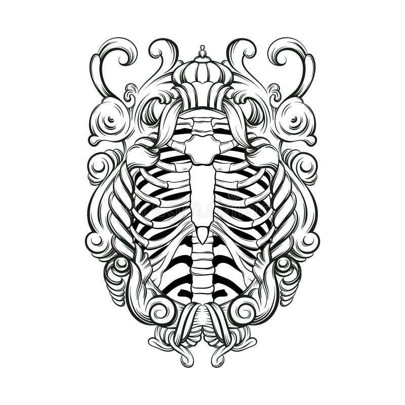 Vectorhand getrokken illustratie van menselijke ribben met barok geïsoleerd kader stock illustratie