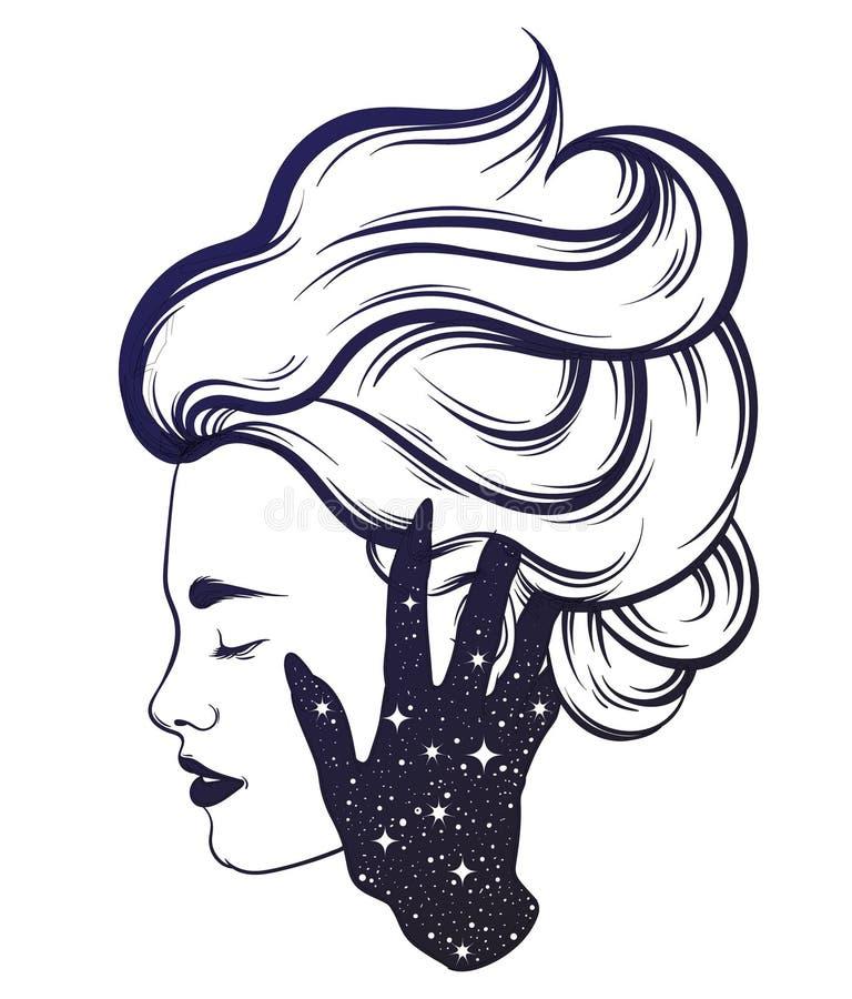 Vectorhand getrokken illustratie van mooi vrouwenprofiel met hand van een spook vector illustratie