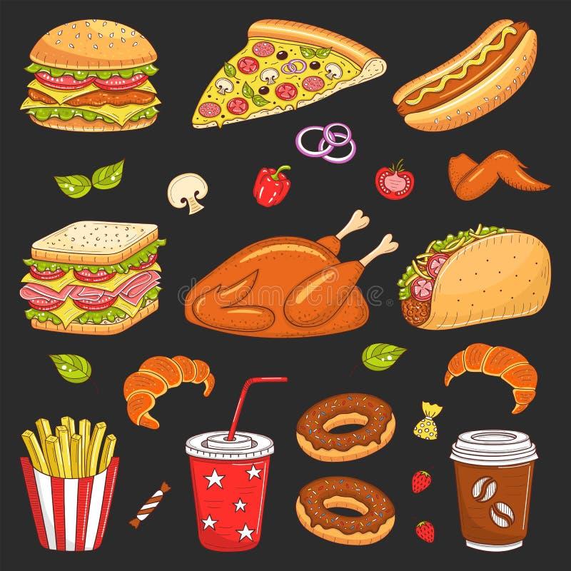 Vectorhand getrokken illustratie van snel voedsel vector illustratie
