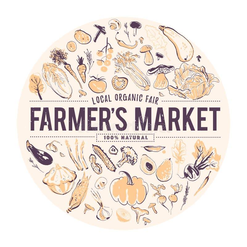 Vectorhand getrokken illustratie van verse rauwe groenten De stijl van de schets Banner voor voedselmarkt & landbouwersmarkt stock illustratie