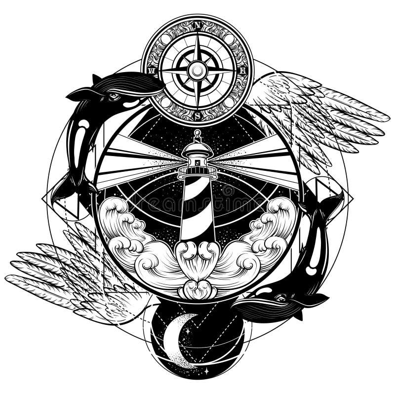 Vectorhand getrokken illustratie van vuurtoren met stralen, golven, vleugels, walvissen en uitstekend kompas vector illustratie