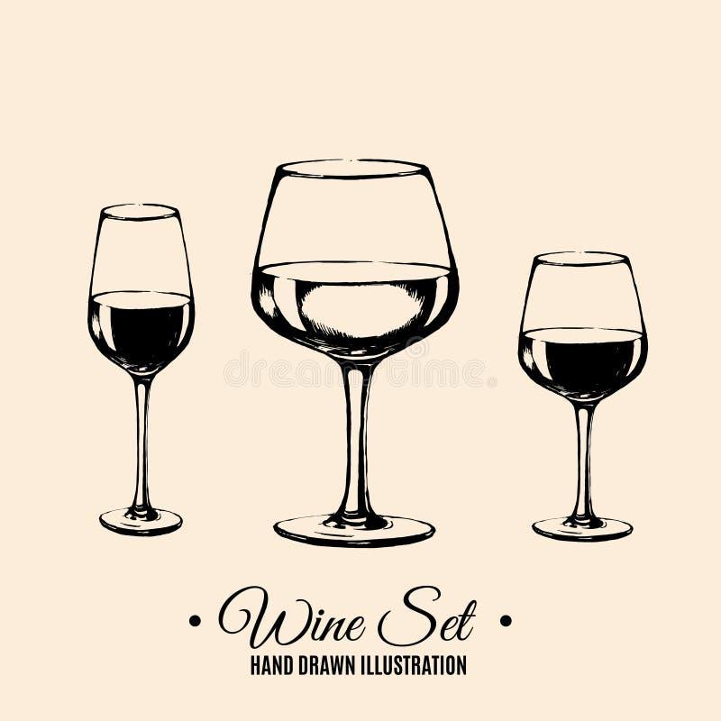 Vectorhand getrokken illustratie van wijnglas royalty-vrije illustratie