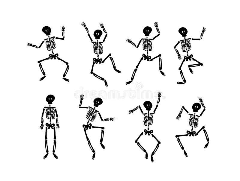 Vectorhand getrokken illustratieconcept Dansend gelukkig Halloween-skelet royalty-vrije illustratie