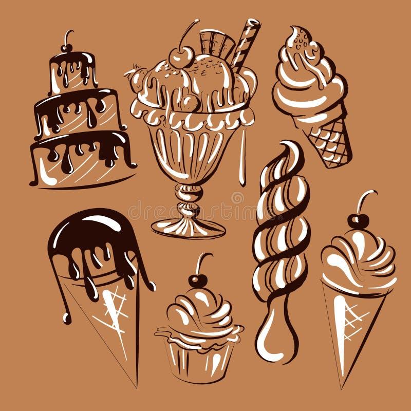 Vectorhand getrokken inzameling van zoet voedsel met cakes en roomijs vector illustratie