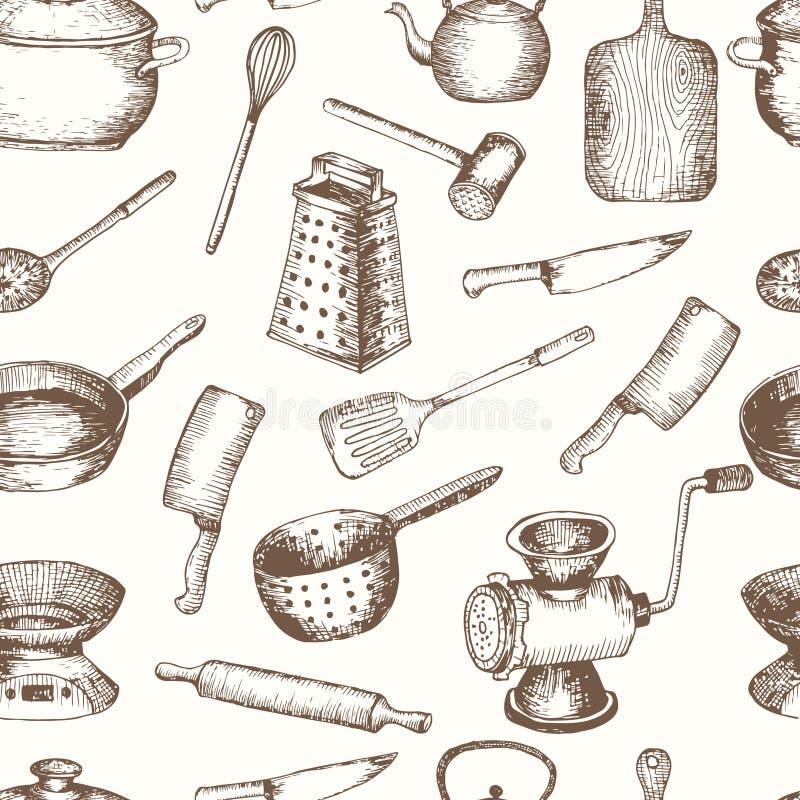 Vectorhand getrokken keukengereedschap naadloos patroon stock illustratie