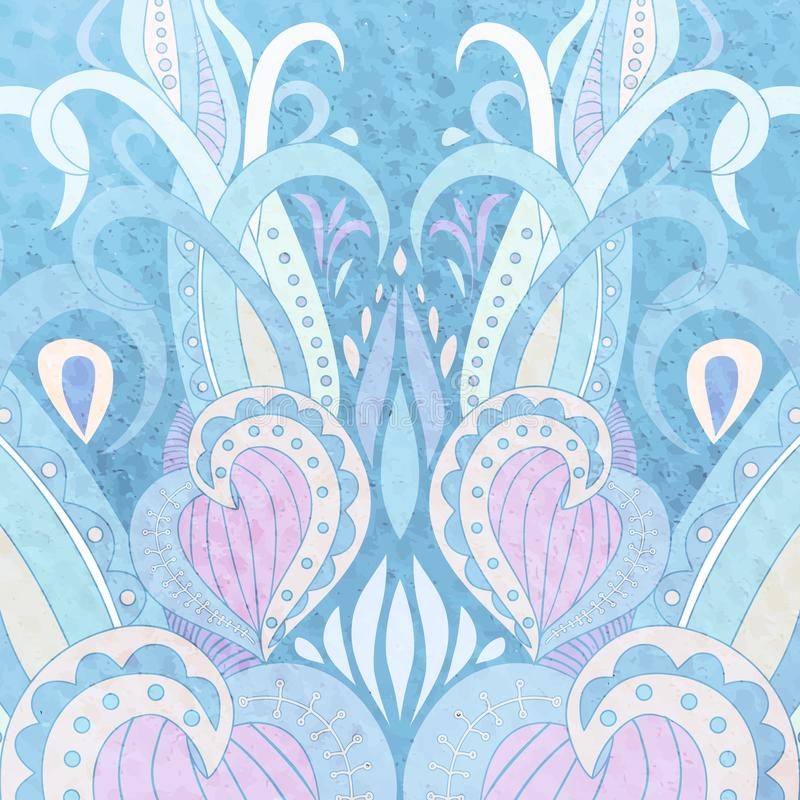 Vectorhand Getrokken Krabbel Mandala Etnisch met kleurrijk ornament Pastelkleur blauwe kleuren, achtergrond doodle royalty-vrije stock afbeeldingen