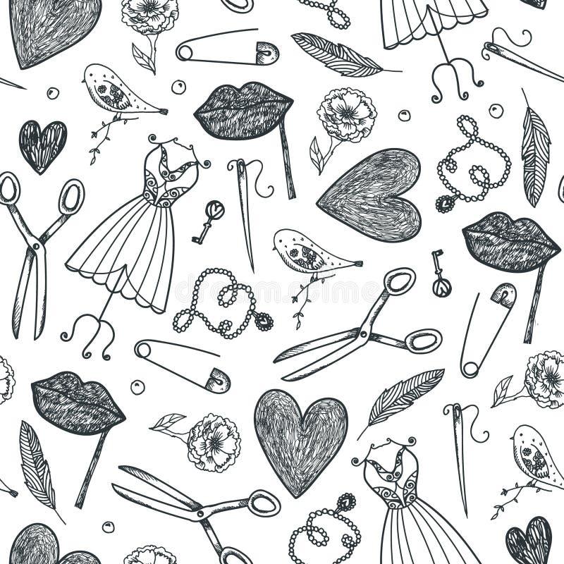 Vectorhand getrokken krabbel naadloos patroon Rebecca 36 Manier, naaiende hulpmiddelenachtergrond Gebruik voor babric, druk vector illustratie