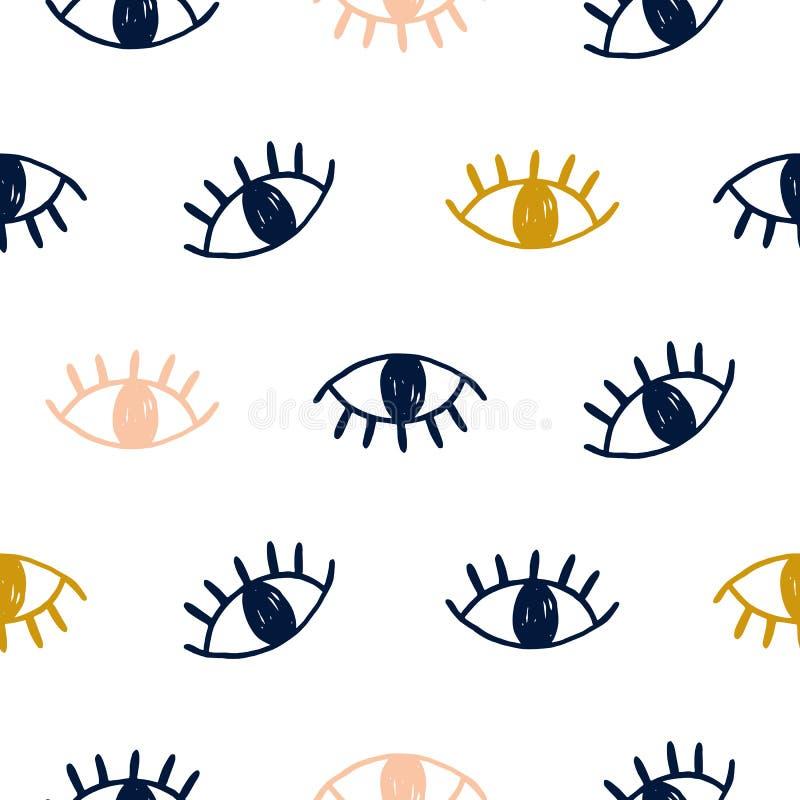 Vectorhand getrokken naadloos patroon met open ogen vector illustratie