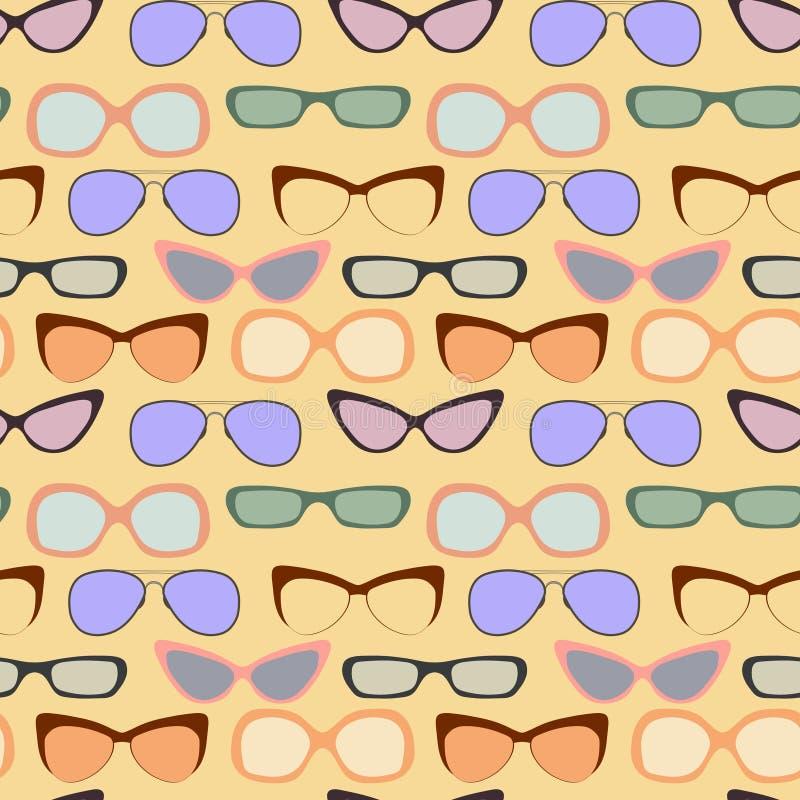 Vectorhand getrokken naadloos patroon Retro uitstekende illustratie background De reeks van het glazenkader royalty-vrije illustratie