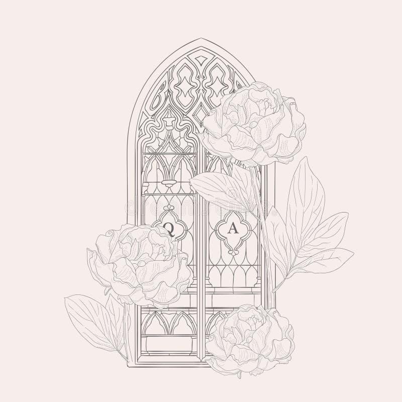 Vectorhand Getrokken Oude Gotische Vensterillustratie royalty-vrije illustratie