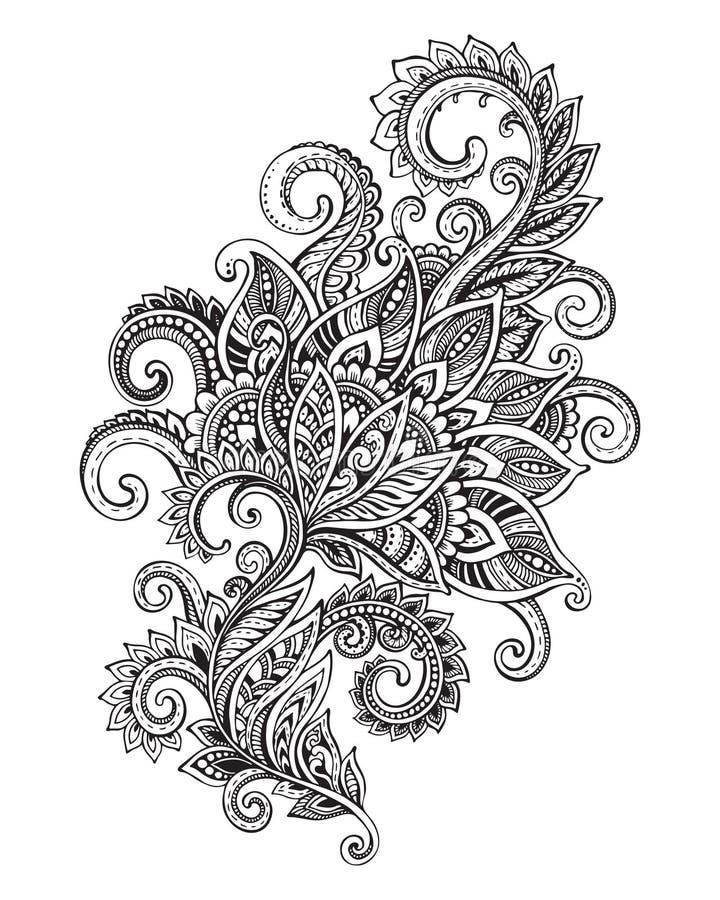 Vectorhand getrokken overladen bloempatroon in zentanglestijl royalty-vrije illustratie