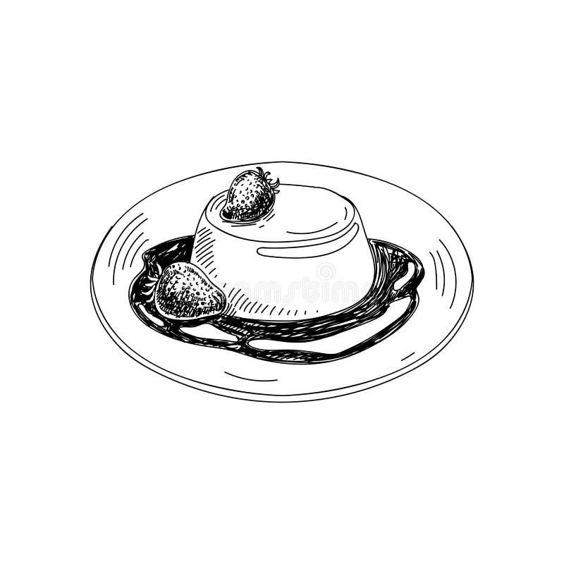 Vectorhand getrokken pannacotta Schotels van Italiaanse keuken royalty-vrije illustratie