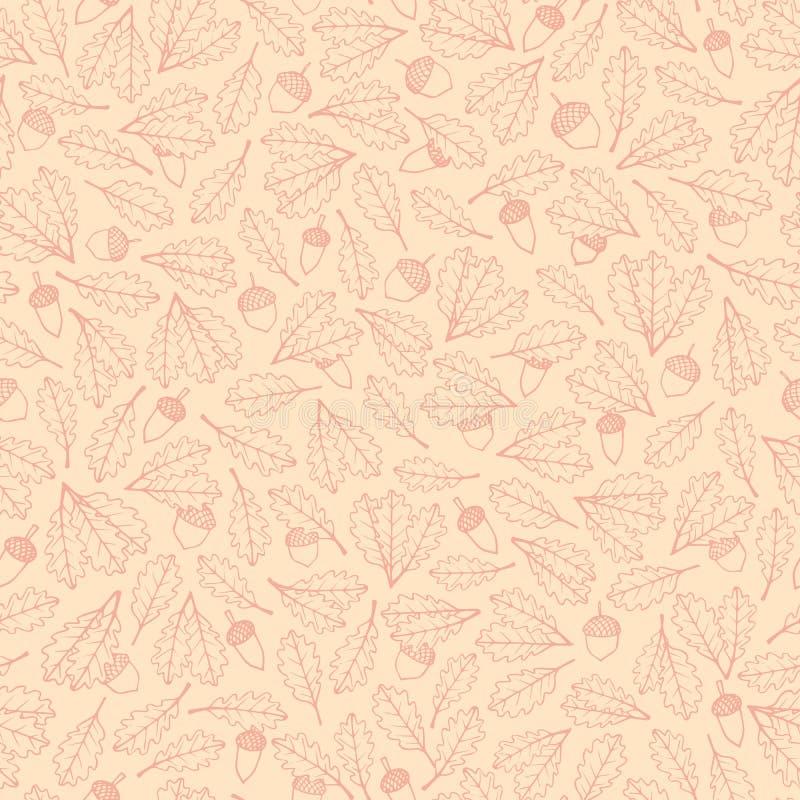 Vectorhand getrokken patroon met rode van de herfst eiken bladeren en eikels contouren op de beige achtergrond vector illustratie