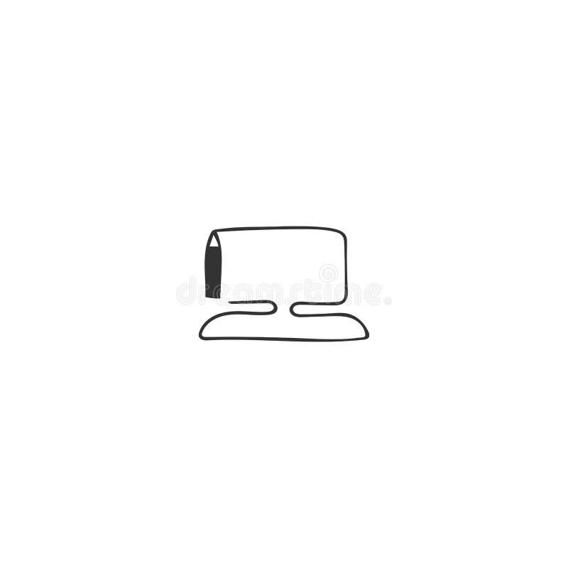 Vectorhand getrokken pictogram, een computer van de pentekening Het schrijven, auteursrecht en het publiceren thema royalty-vrije illustratie
