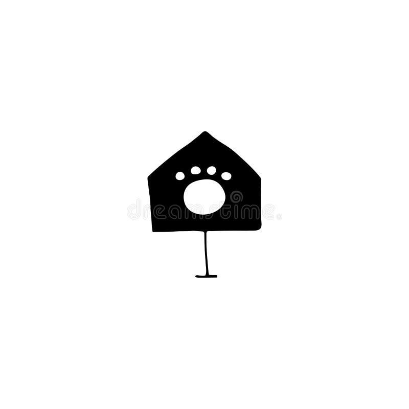 Vectorhand getrokken pictogram, huis Embleemelement voor huisdieren verwante zaken royalty-vrije illustratie
