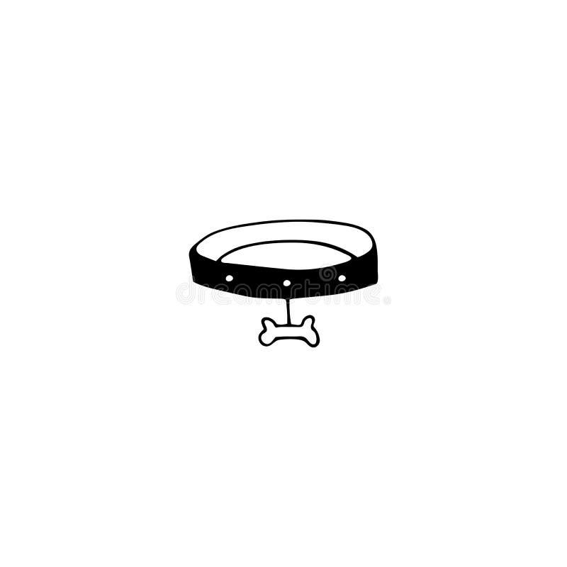 Vectorhand getrokken pictogram, kraag met been Embleemelement voor huisdieren verwante zaken vector illustratie