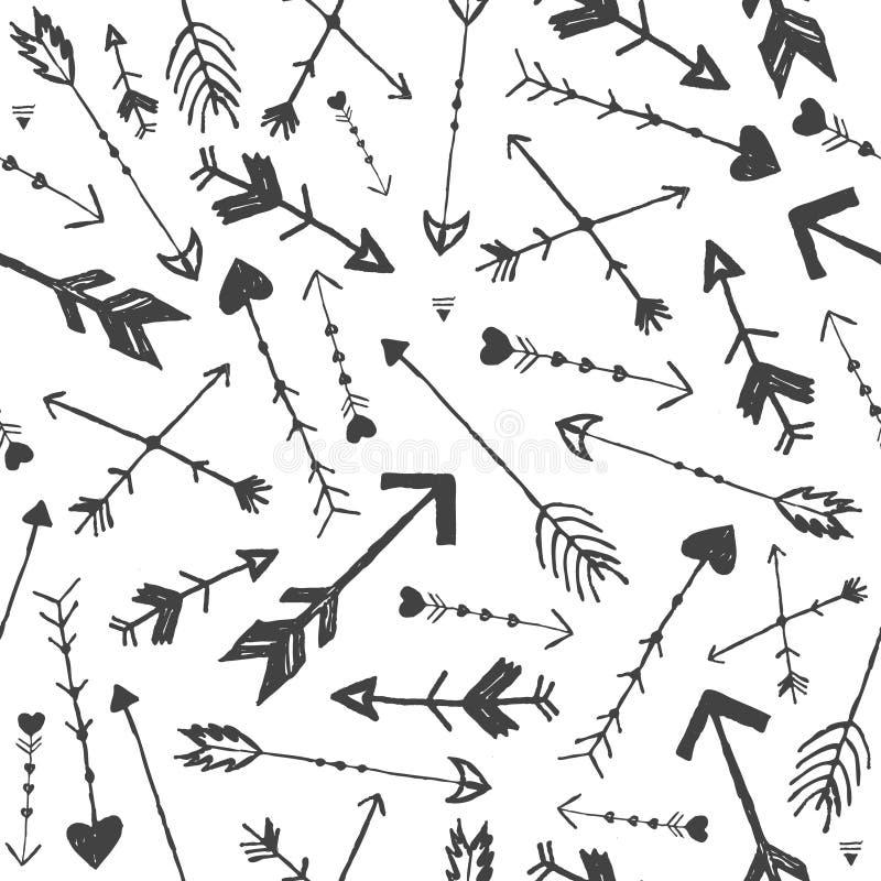 Vectorhand getrokken pijlen naadloos patroon Stijl van krabbel de uitstekende boho Gebruik voor het verpakken, decoratie, achterg vector illustratie