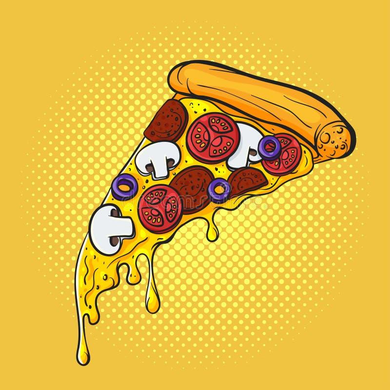 Vectorhand getrokken pop-artillustratie van pizza Snel voedsel vector illustratie