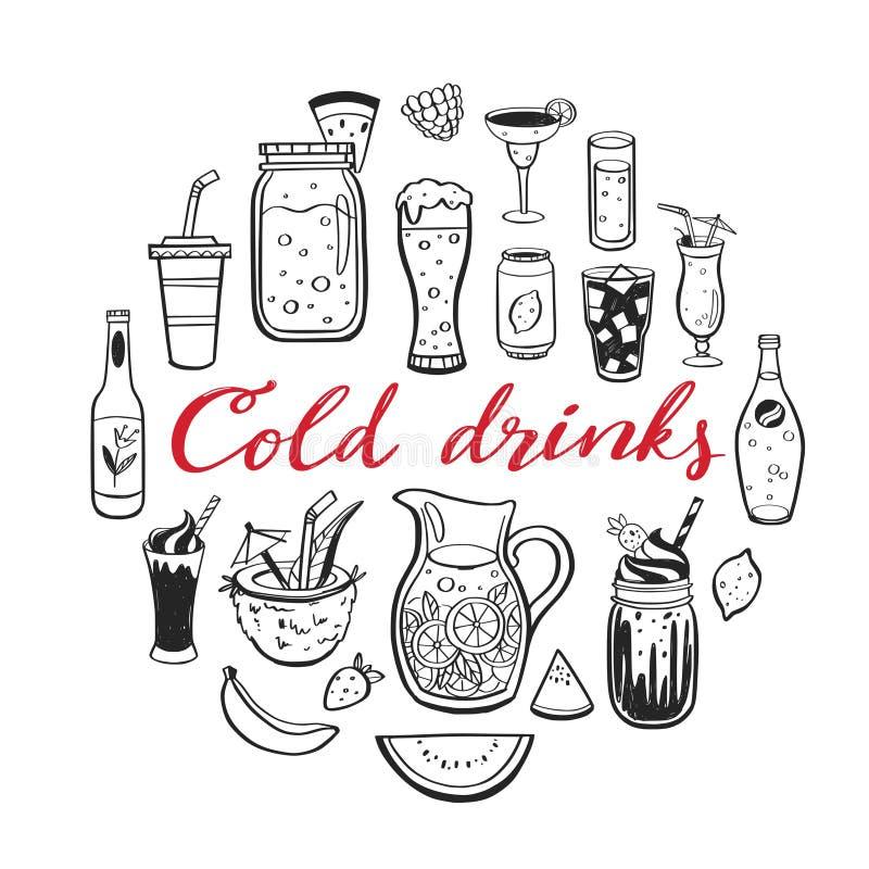 Vectorhand getrokken reeks Koude dranken, de zomercocktails en dranken met vruchten Diverse krabbels voor strandpartij, bar vector illustratie