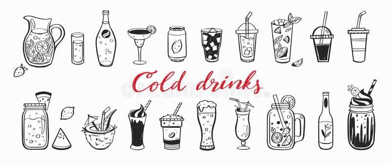 Vectorhand getrokken reeks Koude dranken, de zomercocktails en dranken met vruchten Diverse krabbels voor strandpartij, bar royalty-vrije illustratie