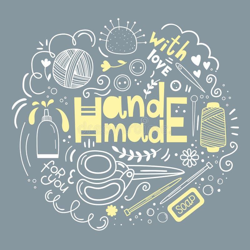 Vectorhand getrokken reeks van gemaakte hand - Schaar, draad, garen, lijm, naald, knopen isoleer stock illustratie