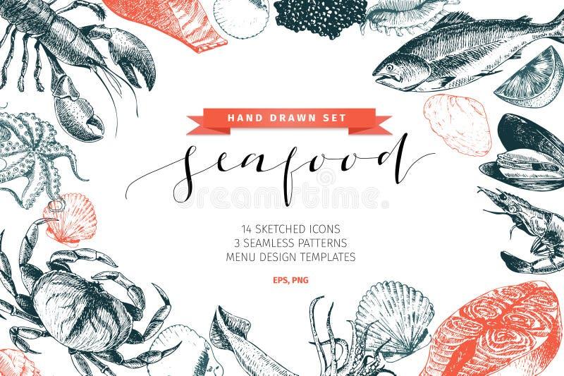 Vectorhand getrokken reeks zeevruchtenpictogrammen Zeekreeft, zalm, krab, garnalen, ocotpus, pijlinktvis en tweekleppige schelpdi royalty-vrije illustratie