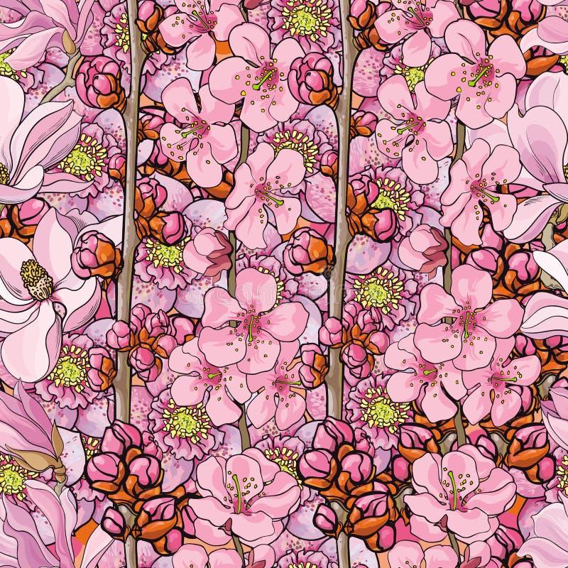 Vectorhand getrokken sakura, kersen naadloos patroon stock illustratie