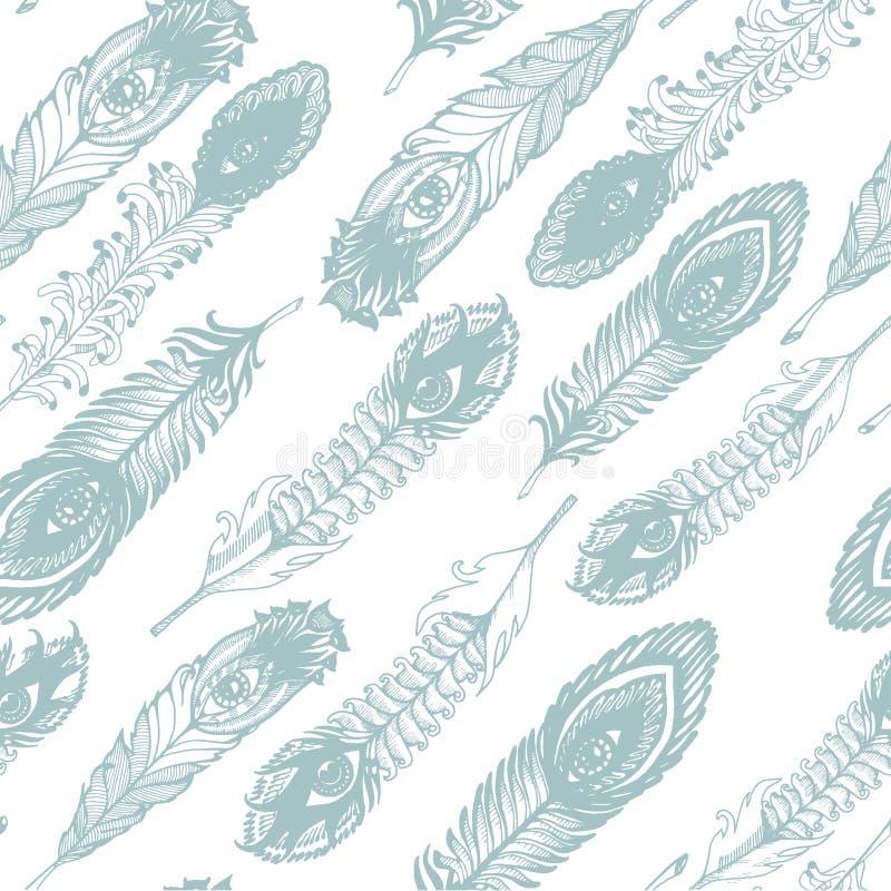 Vectorhand getrokken schets van abstracte veerillustratie op het witte naadloze patroon als achtergrond vector illustratie