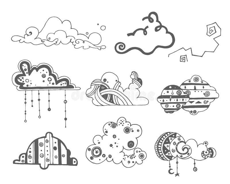 Vectorhand getrokken schets van abstracte wolkenillustratie op witte achtergrond stock illustratie