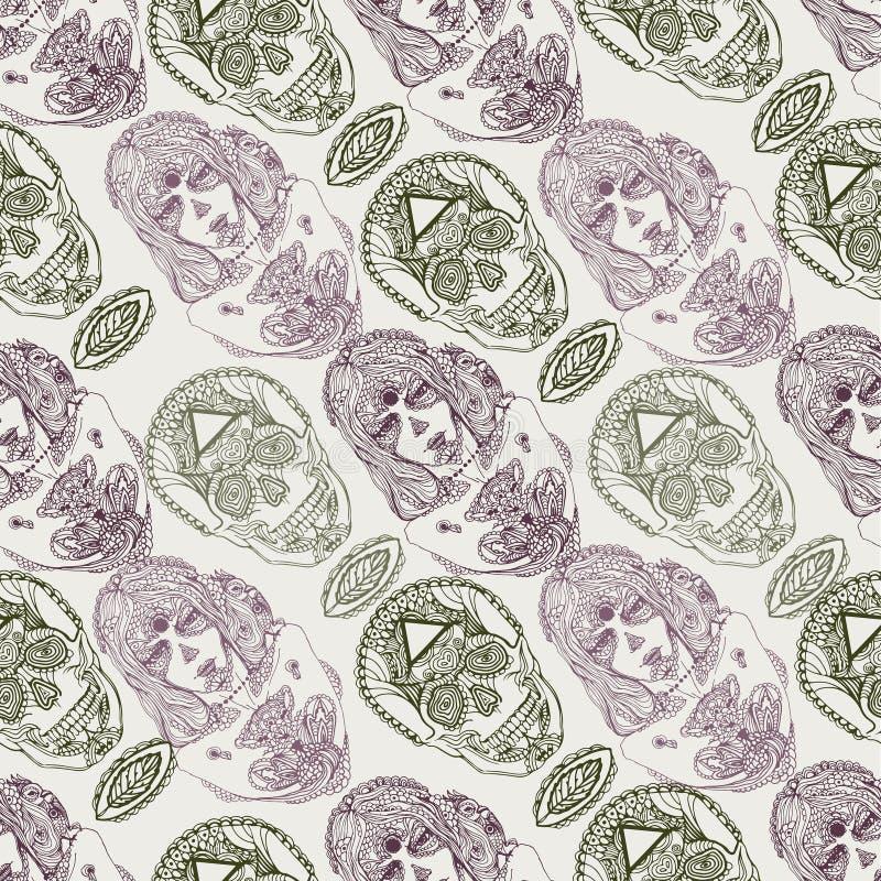 Vectorhand getrokken schets van dia DE los muertos naadloze het patroonillustratie van het meisjesportret op witte achtergrond vector illustratie