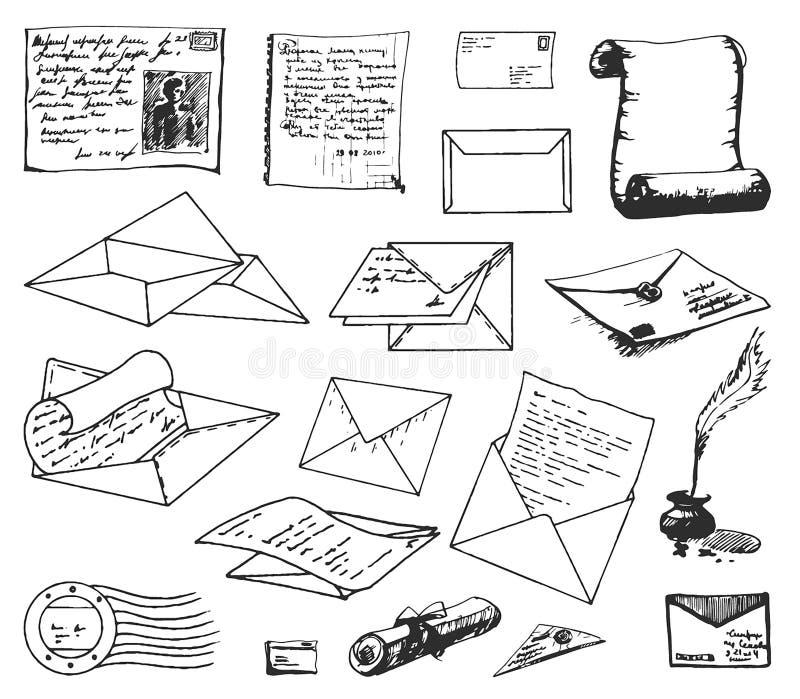 Vectorhand getrokken schets van document brievenillustratie op witte achtergrond stock illustratie
