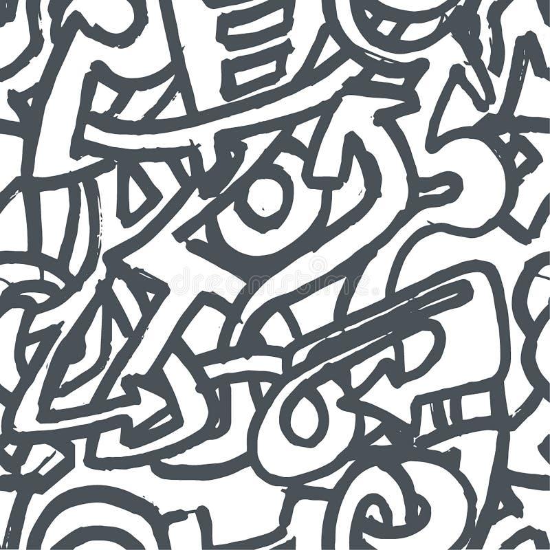 Vectorhand getrokken schets van graffitiillustratie op witte achtergrond stock illustratie