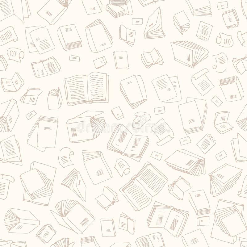 Vectorhand getrokken schets van illustratie van het boeken de naadloze patroon op witte achtergrond stock illustratie